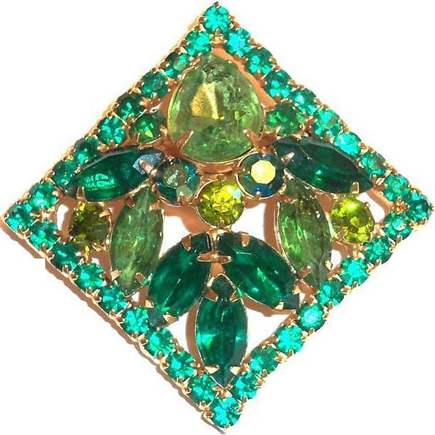 Weiss Two-Tone Green Glass Rhinestone, Marquis & Borealis Pin