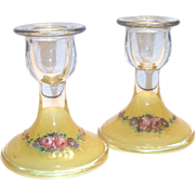 Lovely Reverse Painted Glass Candlestick Holders