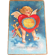 "Vintage ""To My Valentine"" Cupid With Big Red Heart & Arrows"