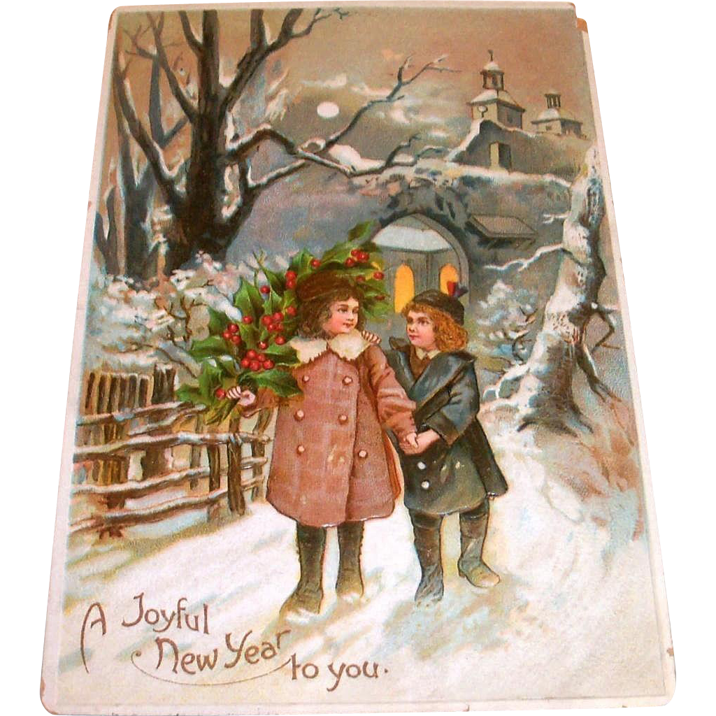 A Joyful New Year To You Vintage Postcard