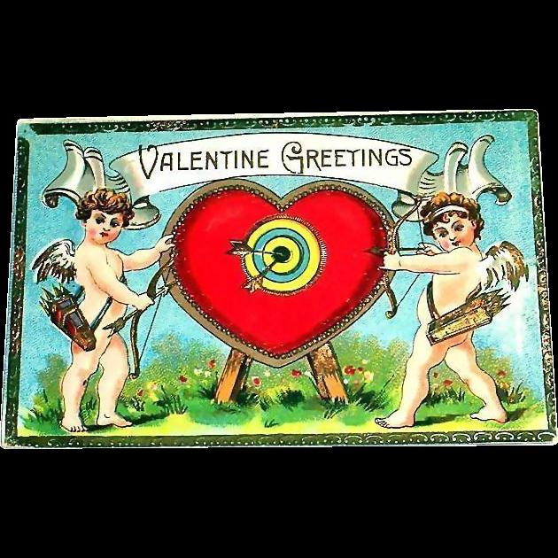 Vintage Valentine Greetings Postcard