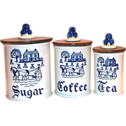 Metlox Poppytrail Blue Provincial 3 Pc Porcelain Canister Set