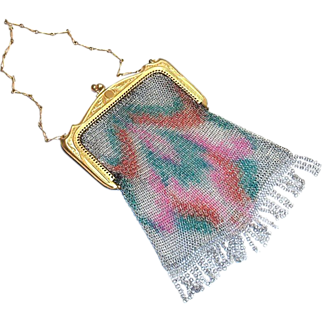 Vintage Whiting & Davis Rainbow Colored Design Mesh Purse