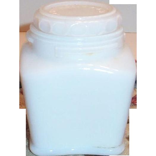 Vintage White Milk Glass Lidded Cream Jar