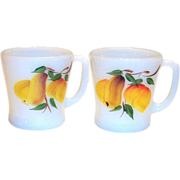 Anchor Hocking: Fire King: Gay Fad Pear Design White Glass Mug