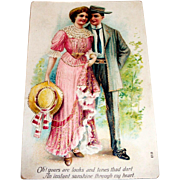 Vintage Edwardian Couple Design Valentine Postcard