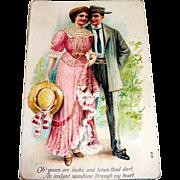 Vintage Edwardian Couple Design Valentine Postcard