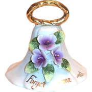 Enesco: White Porcelain Bell & For-Get-Me-Not Lavender Flowers Bell