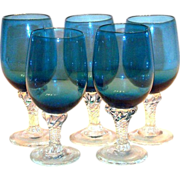 Lovely Hand Blown Blue Glass & Clear Glass Stemmed Cordial