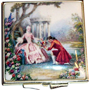 Vintage Colonial Couple Scene Enamel Top Double Mirror Compact