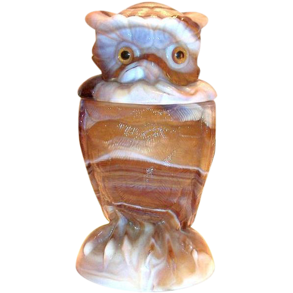 Imperial Slag Glass Owl Jar