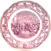 Crown Ducal: Colonial Times: The Marriage Of Pocahontas Mulberry Collector's Plate