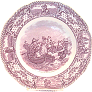 "Crown Ducal: Colonial Times: Mulberry ""Landing Of The Pilgrims"" Porcelain Collector's Plate"