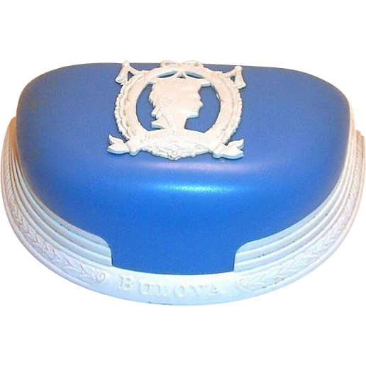 Bulova Dolly Madison Plastic Blue & White Watch Display Box