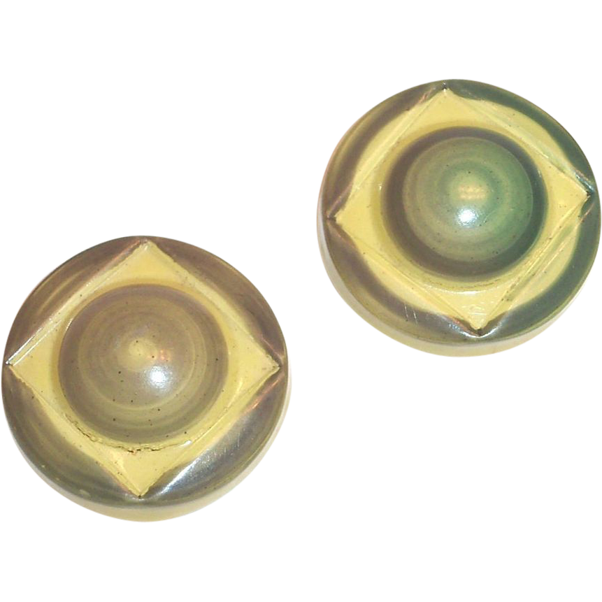 Pair of 2 Vintage Celluloid Buttons