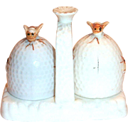 Vintage Porcelain Bees & Beehive Salt & Pepper Set on Handled Tray