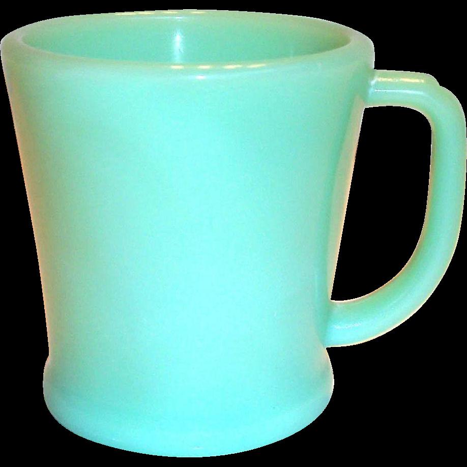 "Anchor Hocking ""Fire King"" Jadite Glass D Handle Mug"