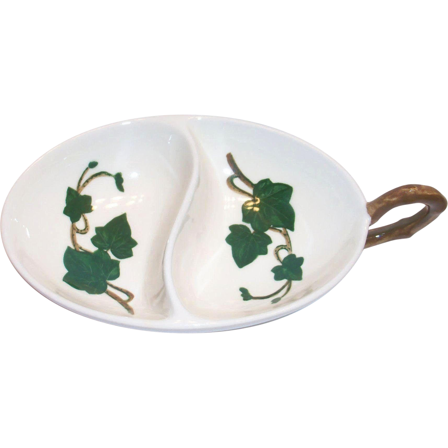 Vintage Metlox Poppytrail Ivy Hand Painted Ivy Design Divided Relish or Nappy Bowl