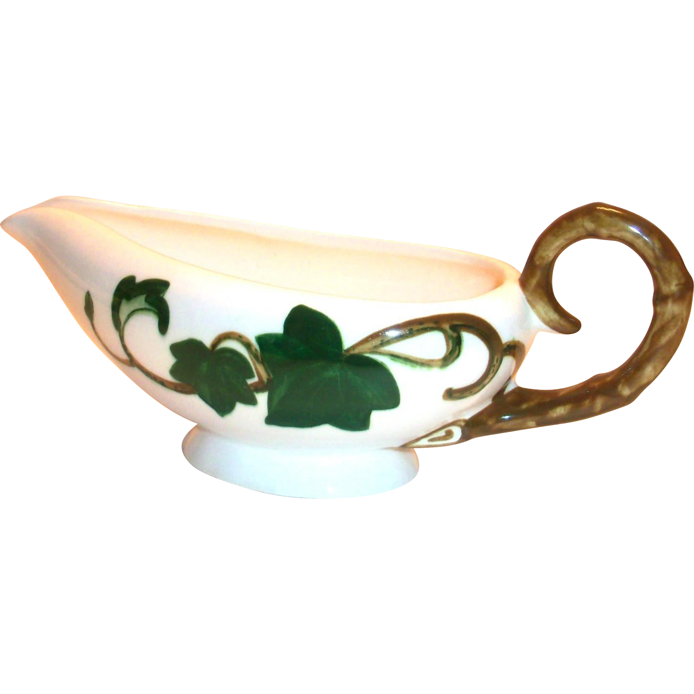 Metlox Poppytrail Ivy Hand Painted Ivy Design Porcelain Gravy Boat