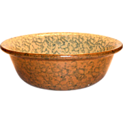 Two-Tone Spongeware Pottery Bowl