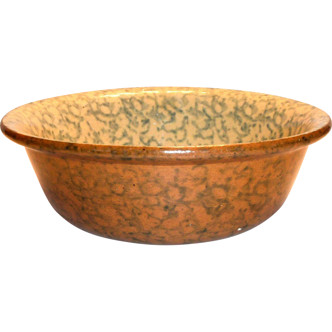 Two-Tone Spongeware Pottery Bowl