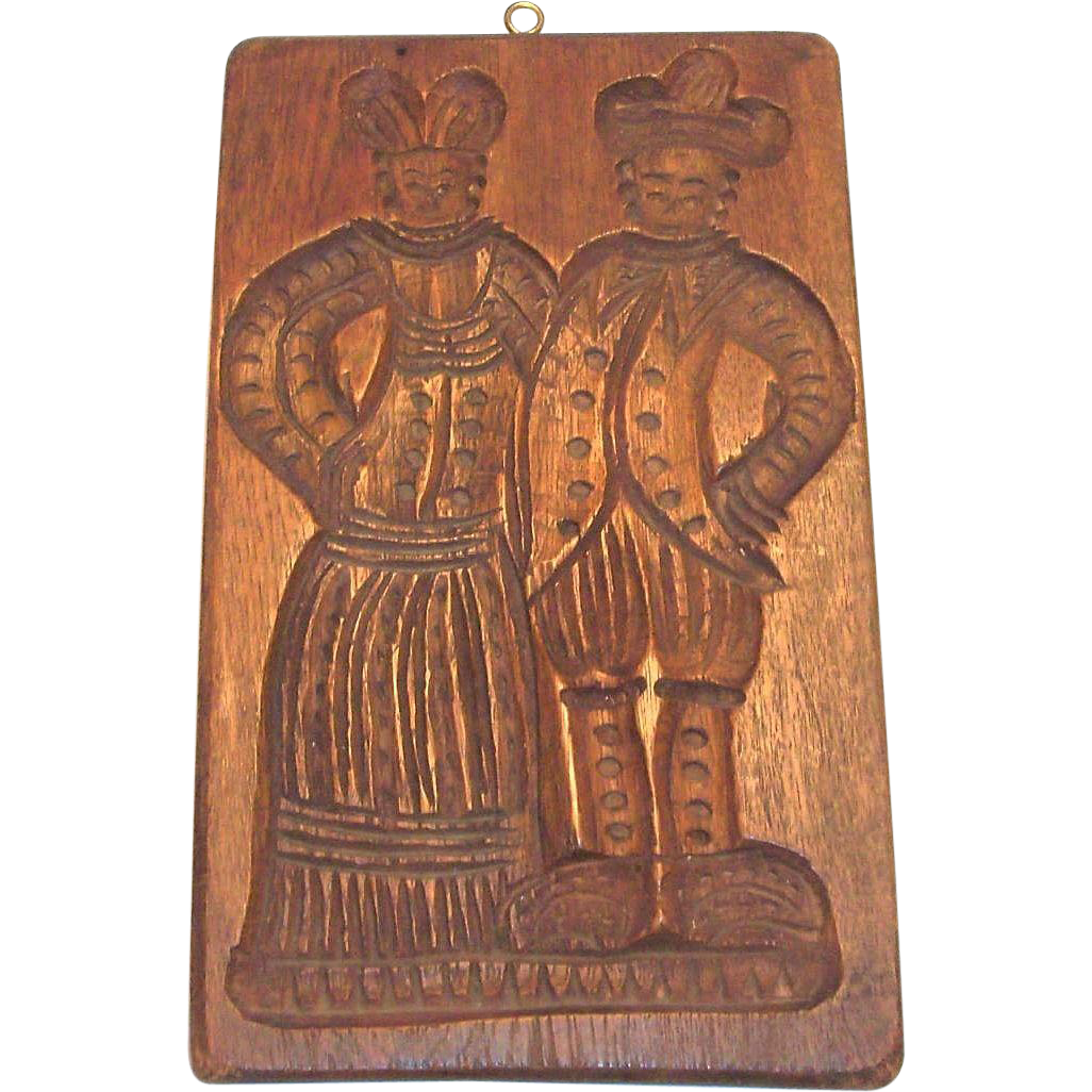 Vintage Double Dutch Couple Design on a Wooden Cookie Mold