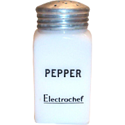 Hazel Atlas Advertising Electrochef White Milk Glass Pepper Shaker