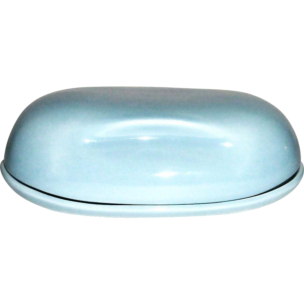 Vintage Russell Wright Aqua Porcelain Covered Butter Dish