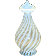 Fenton Jack-N-Pulpit White & Clear Swirl Design Glass Opalescent Vase