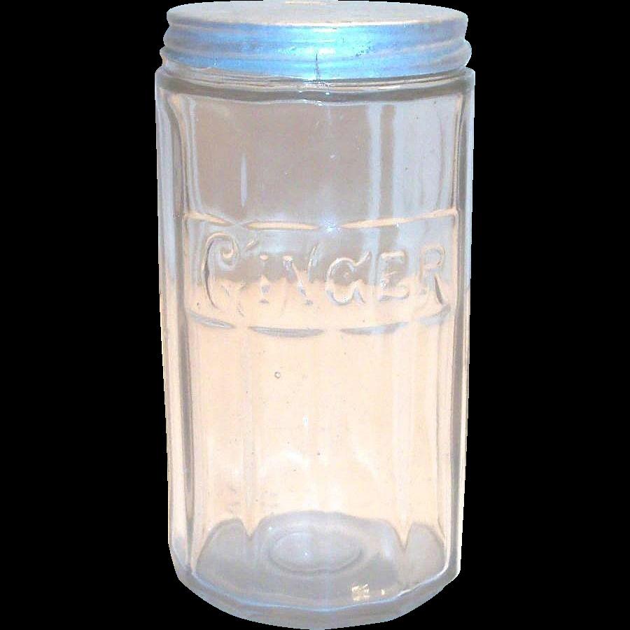 """Vintage Hoosier Crystal Embossed """"Ginger"""" Spice Jar"""