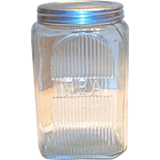 Vintage Hoosier Crystal Glass Embossed Tea Canister