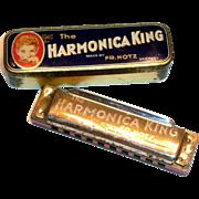 Vintage FR. Hotz The Harmonica King Harmonica in Original Tin Case