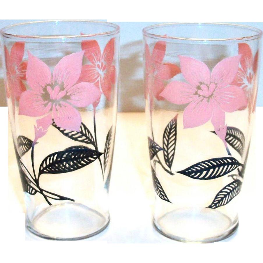 Retro Pink & Black Floral & Leaf Design Glass