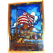 Metal Framed Eagle Scouts Stain Glass Camp Scene & Symbol
