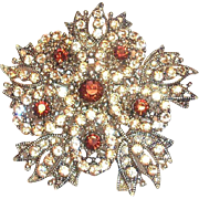 Lovely Dark Amber & Light Amber Rhinestones Floral Design Pin/Pendant