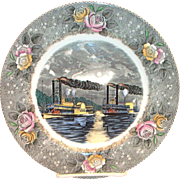 Adams: Currier & Ives: Midnight Race On The Mississippi Porcelain Plate