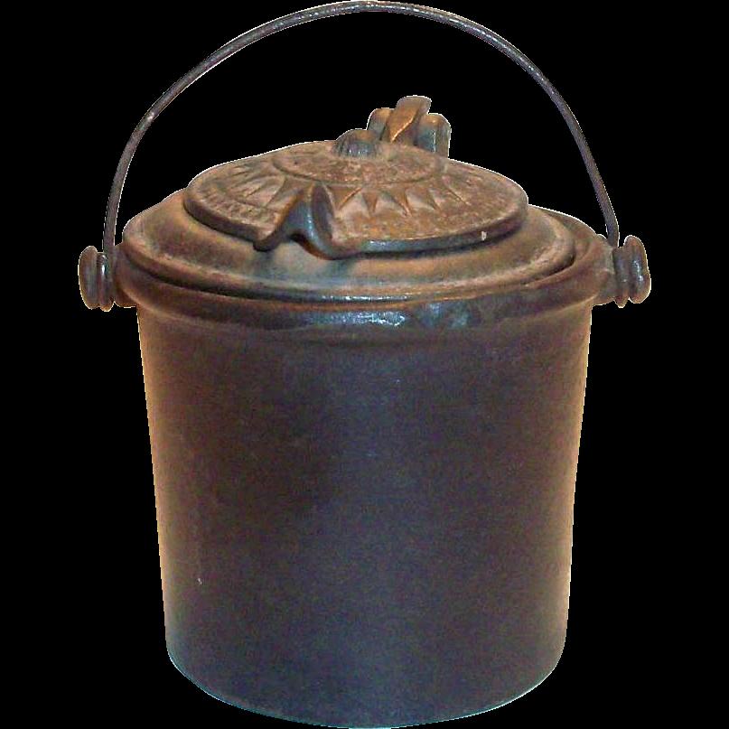 antique cast iron glue pot patented