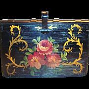 Vintage Handpainted Folk Art/Toleware Floral Design Metal Silent Butler