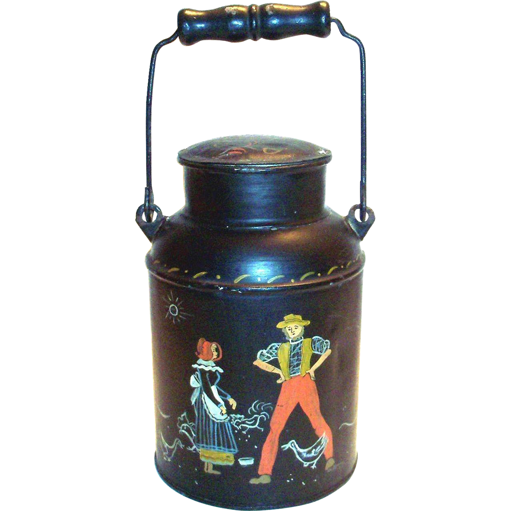 Vintage Hand Painted Folk Art or TolewareDutch Boy & Girl Design Milk Pail