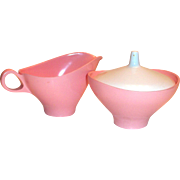 Vintage Retro Bootenware Plastic Pink with White Lid Sugar & Creamer Set