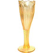 Lovely Vintage Transparent Yellow Glass Zipper Pattern Stemmed Vase