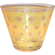Vintage Retro Yellow Pin Striped & Clear Polka Dot Design Ice Tub/Bowl