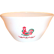 "Vintage McKee 9""Rd Chicken On Nest Design White Glass Mixing Bowl"
