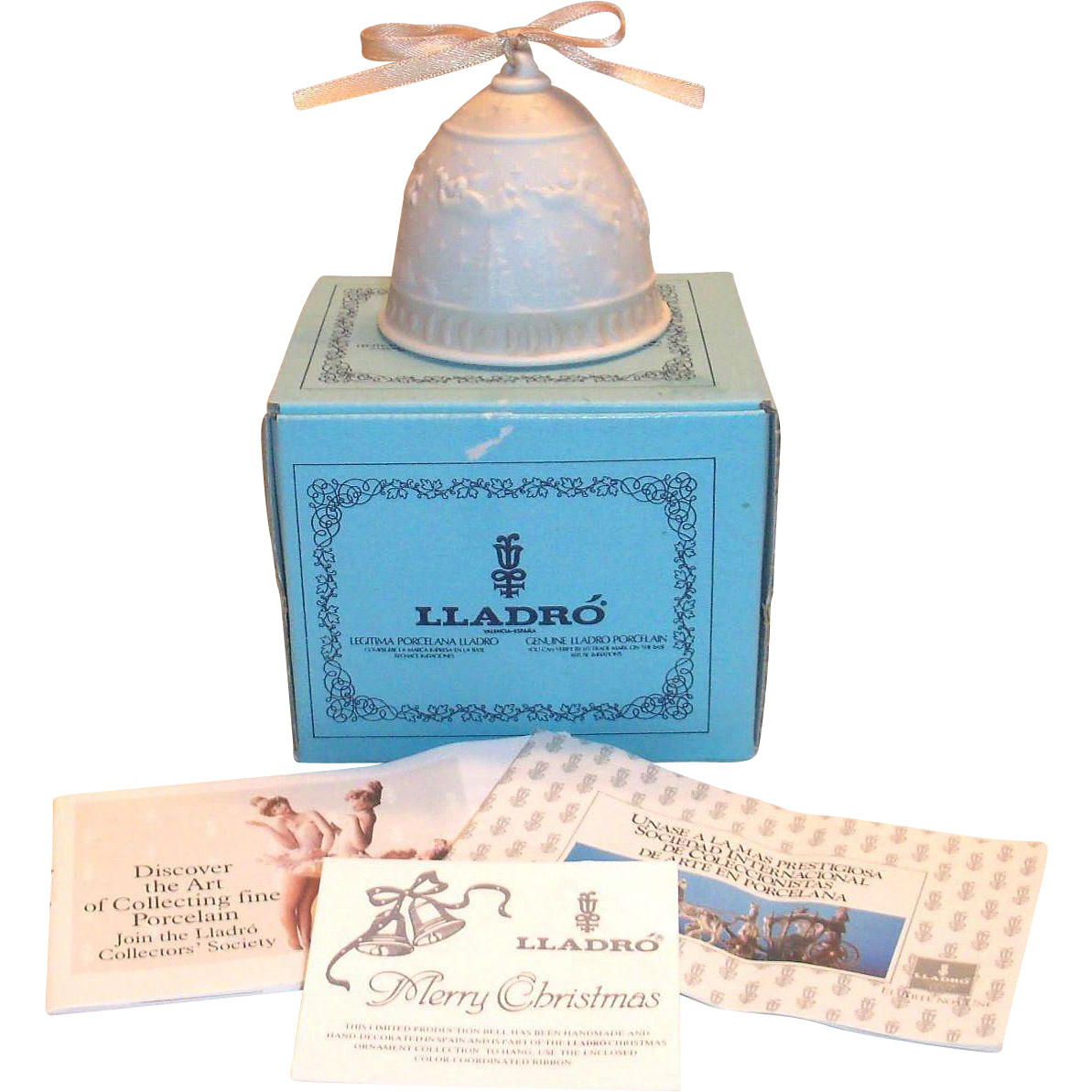 Lladro 1989 Porcelain Christmas Bell Ornament with Original Box