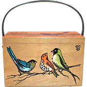 "Vintage Enid Collins ""For The Birds"" Wooden Box Purse with Leather Handle"