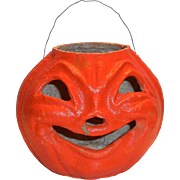 Vintage Halloween Paper Mache Pumpkin
