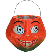 Vintage Paper Mache Halloween Pumpkin With Paper Face