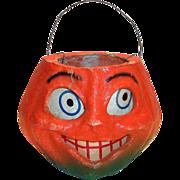 Vintage Paper Mache Halloween Pumpkin With Paper Face