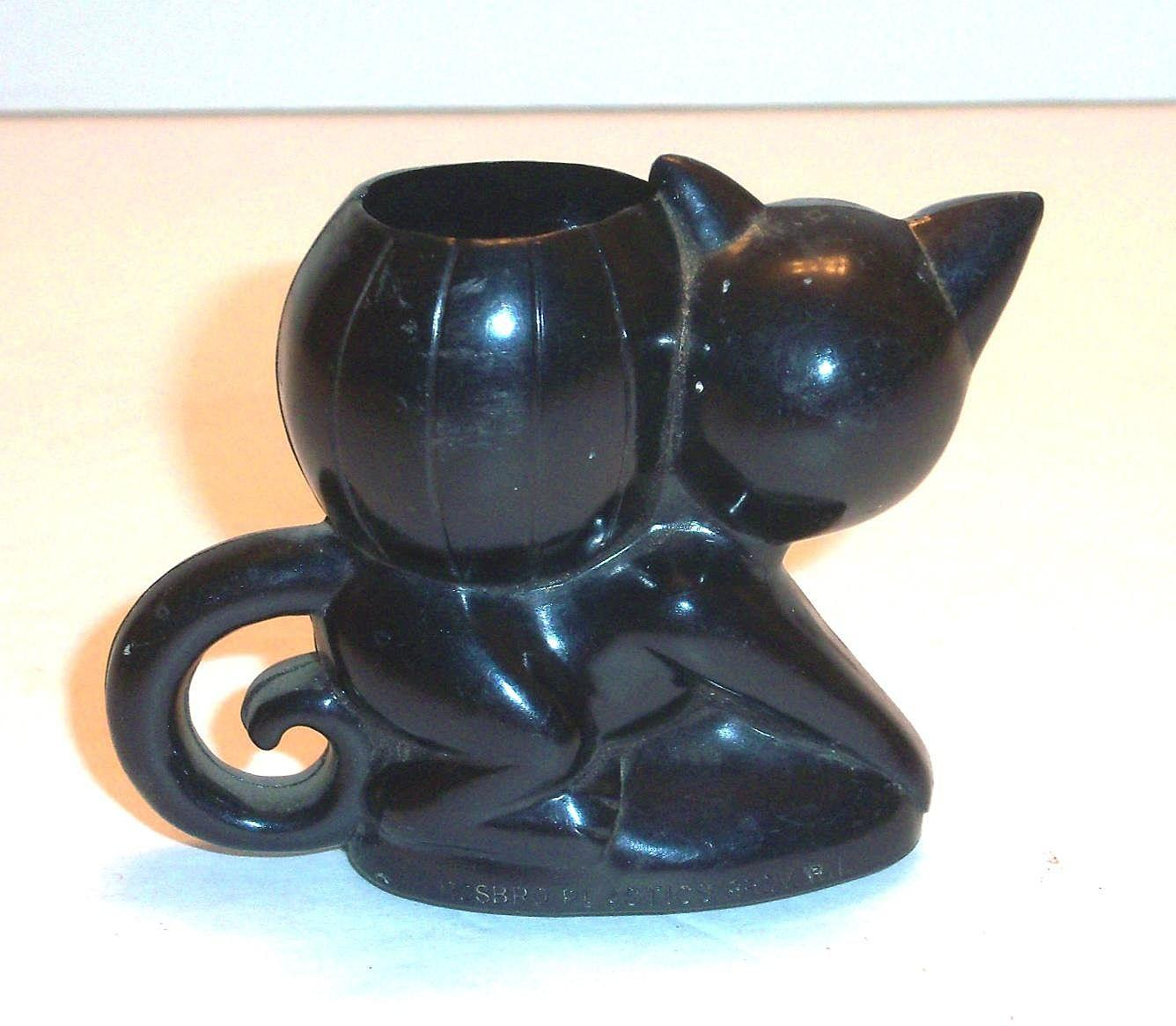 Vintage 1950's Rosbro Plastics Halloween Black Cat & Pumpkin Candy ...