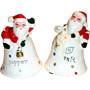 Vintage Napcoware Christmas Santa On Bells Hand Painted Porcelain Salt & Pepper Shakers